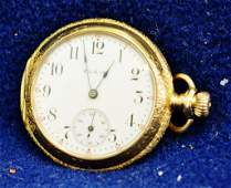 1898 LADIES 14KT SOLID GOLD CASE ELGIN 7J POCKET WATCH