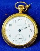 1901 AWW 14J WALTHAM POCKET WATCH 14K GOLD J BOSS CASE