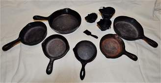 LOT 10 CAST IRON CHILDRENS SALESMAN PANS COAL GRISWALD
