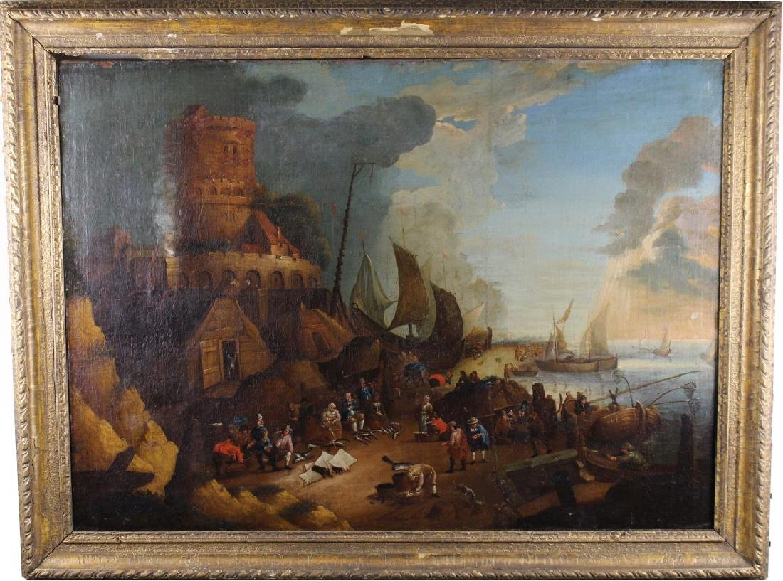 Large Old Master Harbor Scene w/ Figures, 17th C.