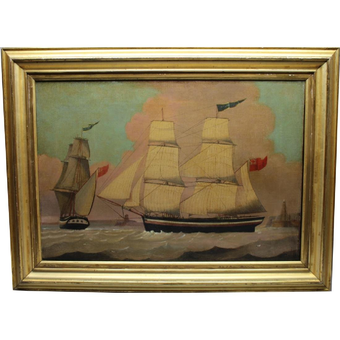 Fine 19th C. Two Position Ship Painting
