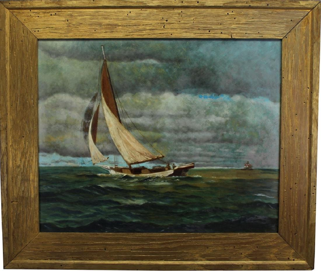 Early 20th C. Yachting Scene Oil/Board