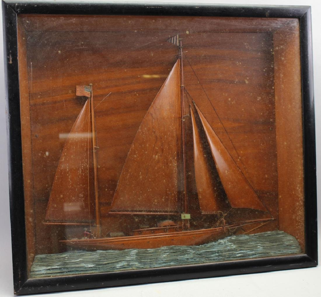 Carved Wooden Half Hull Racing Yacht