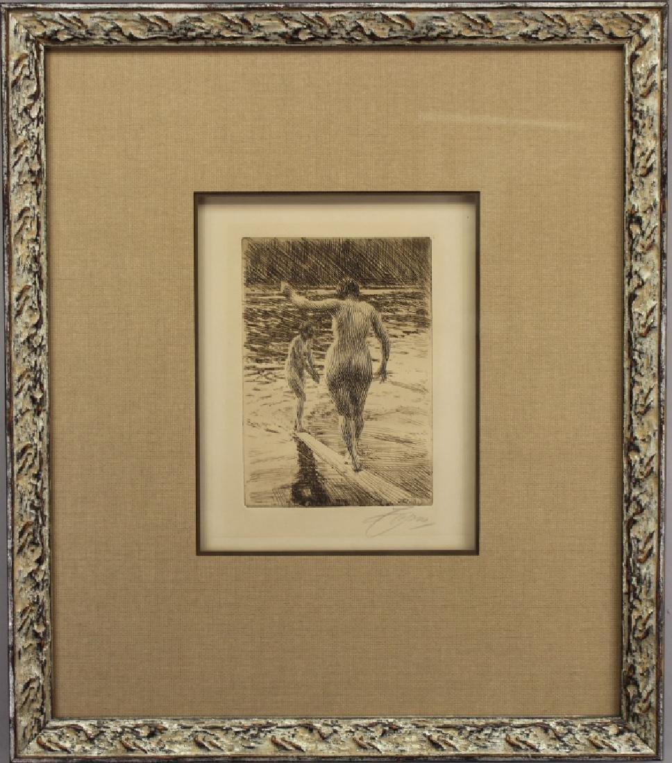 "Anders Zorn (1860 - 1920) ""Balancing on a Log"""