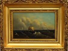 19th C OilBoard Painting Ships in Rough Seas