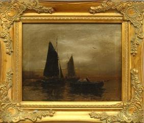Arthur Diehl (1870 - 1929) Boats at Sunset