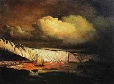 Signed W. Bradford Coastal Scene w/ Sailboat