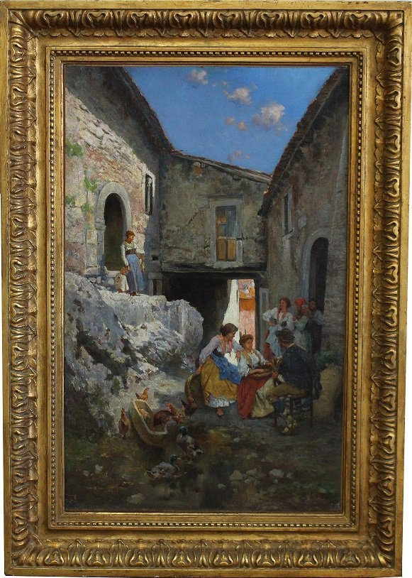 Large Italian School 19th C Courtyard Scene w/ figures