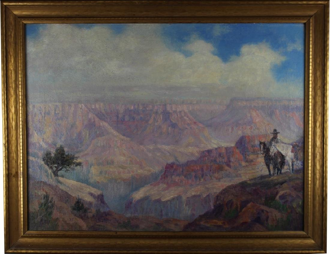 Signed 20th C. Grand Canyon Scene, Horse w/ Rider