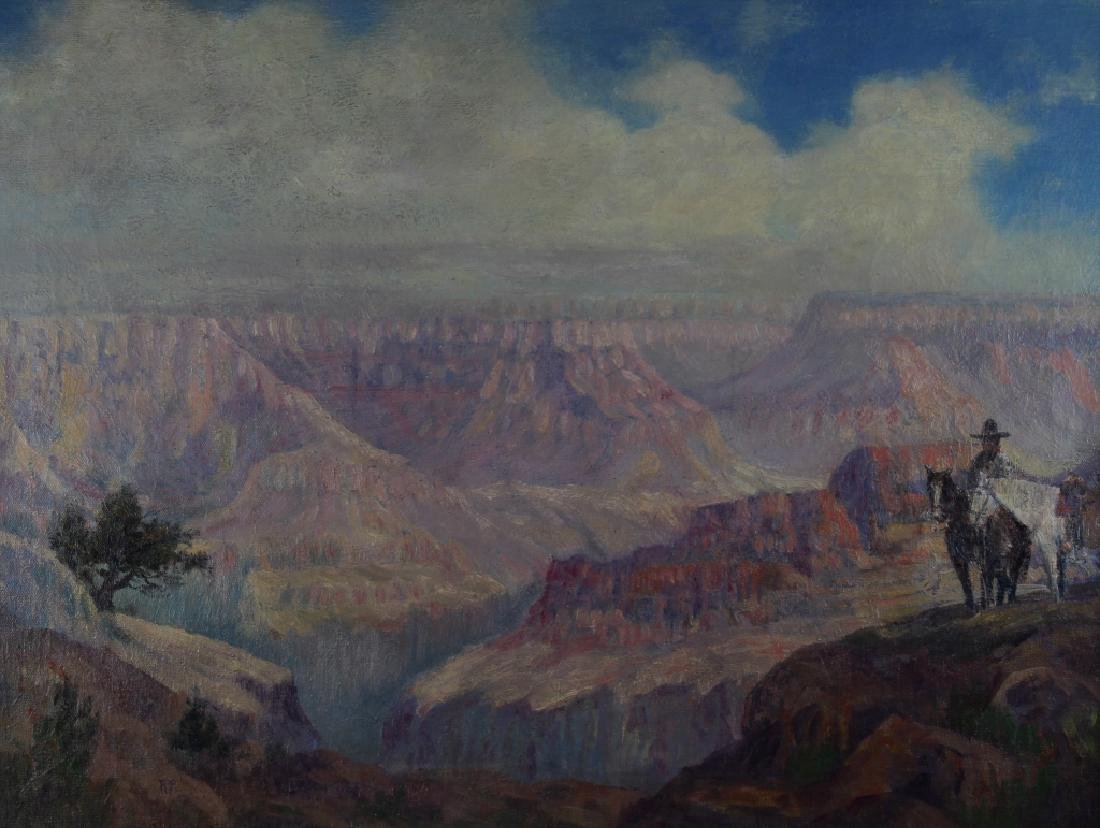 Signed 20th C. Grand Canyon Scene, Horse w/ Rider - 2