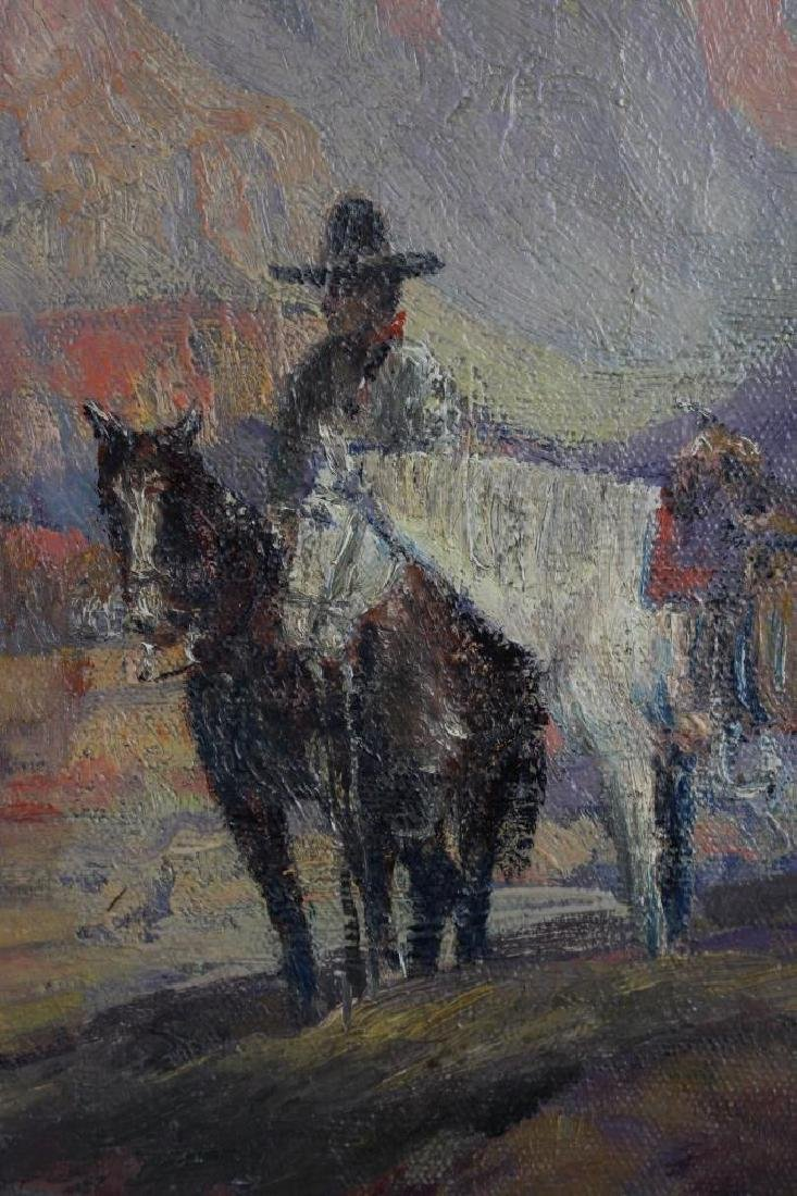 Signed 20th C. Grand Canyon Scene, Horse w/ Rider - 3