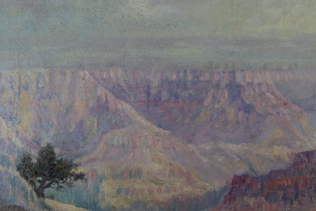 Signed 20th C. Grand Canyon Scene, Horse w/ Rider - 4
