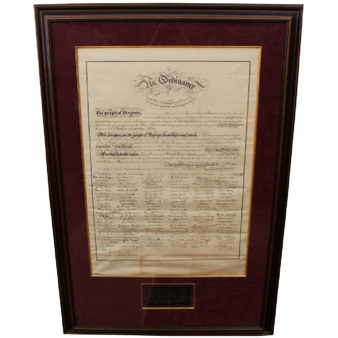 Rare Ordinance of Secession 1861 Document