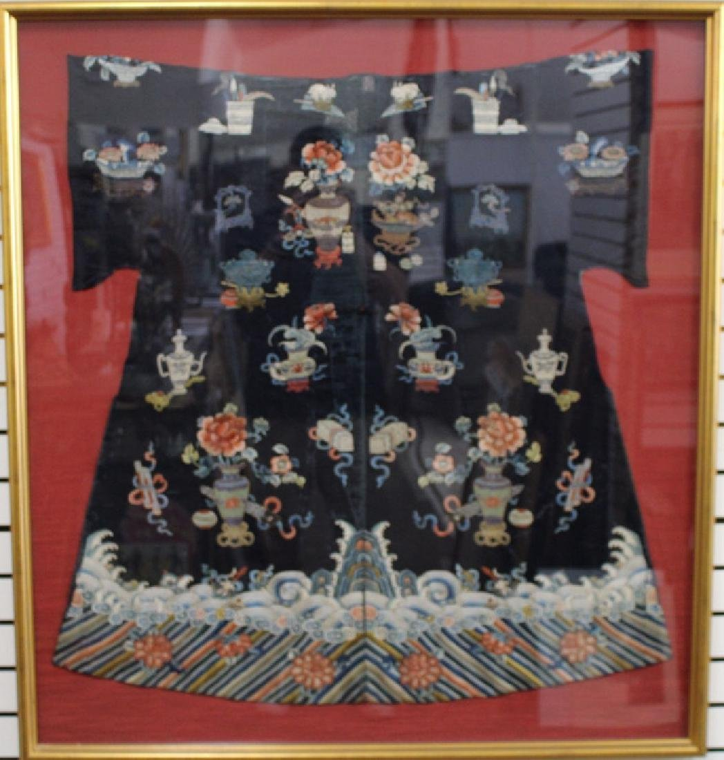 Framed Qing Dynasty Forbidden Stitchery Robe
