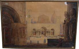 Large Signed 19th C Cairo Scene