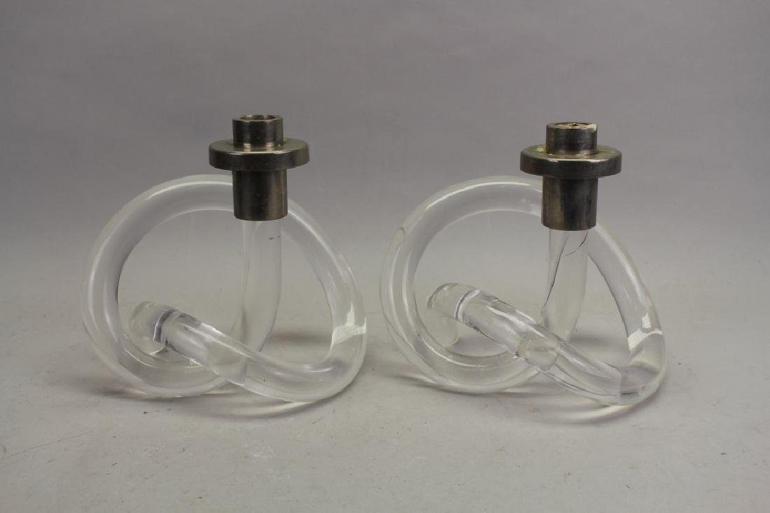 Pair of Abstract Lucite Candle Sticks