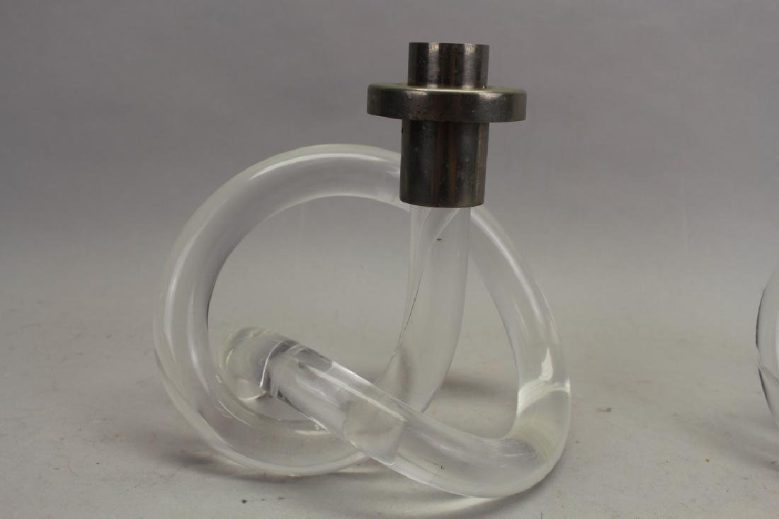 Pair of Abstract Lucite Candle Sticks - 2