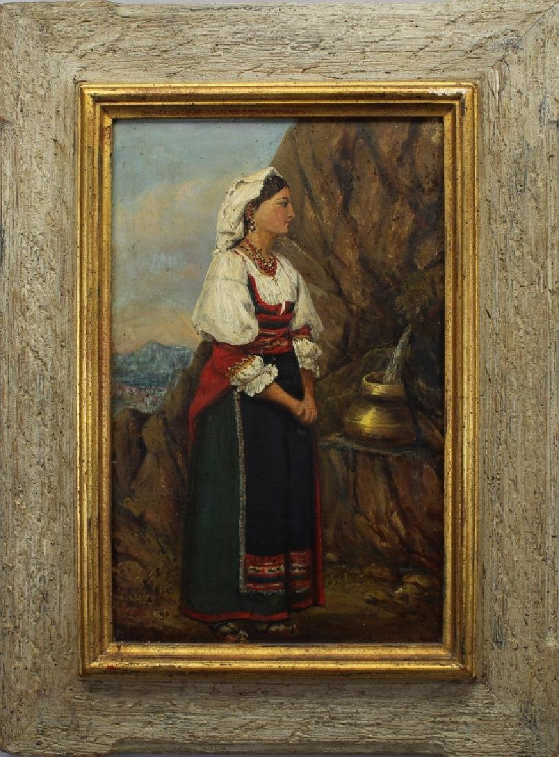 Signed 19th C. Woman at the Well