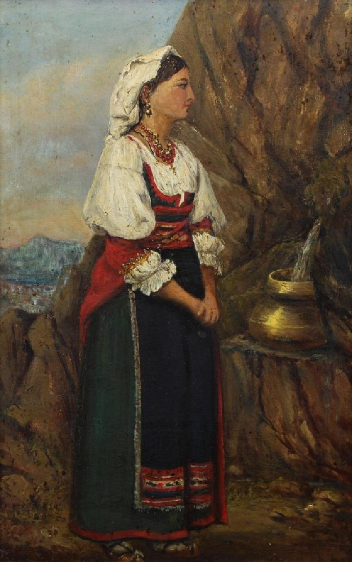 Signed 19th C. Woman at the Well - 2