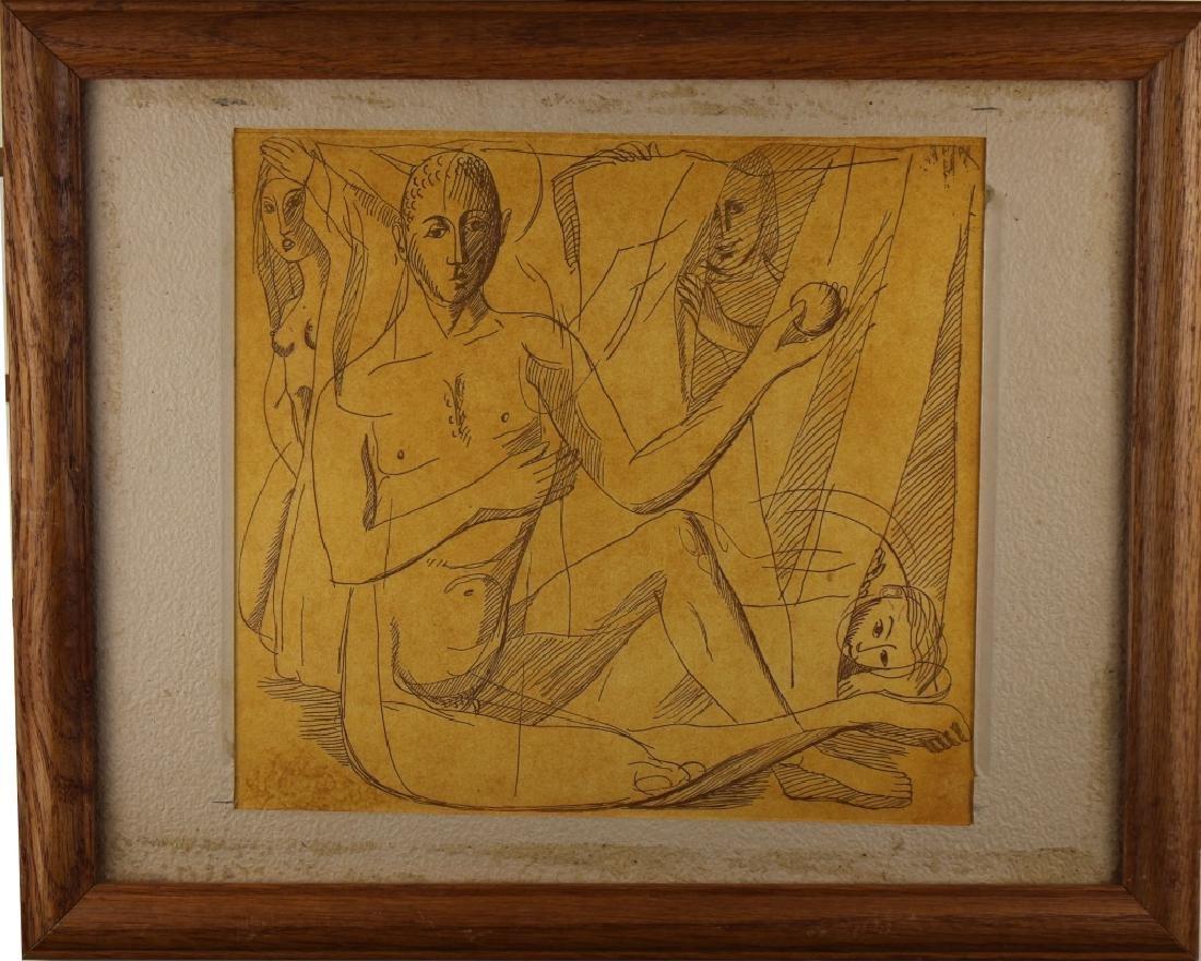 European Mythological Scene, Ink on Paper