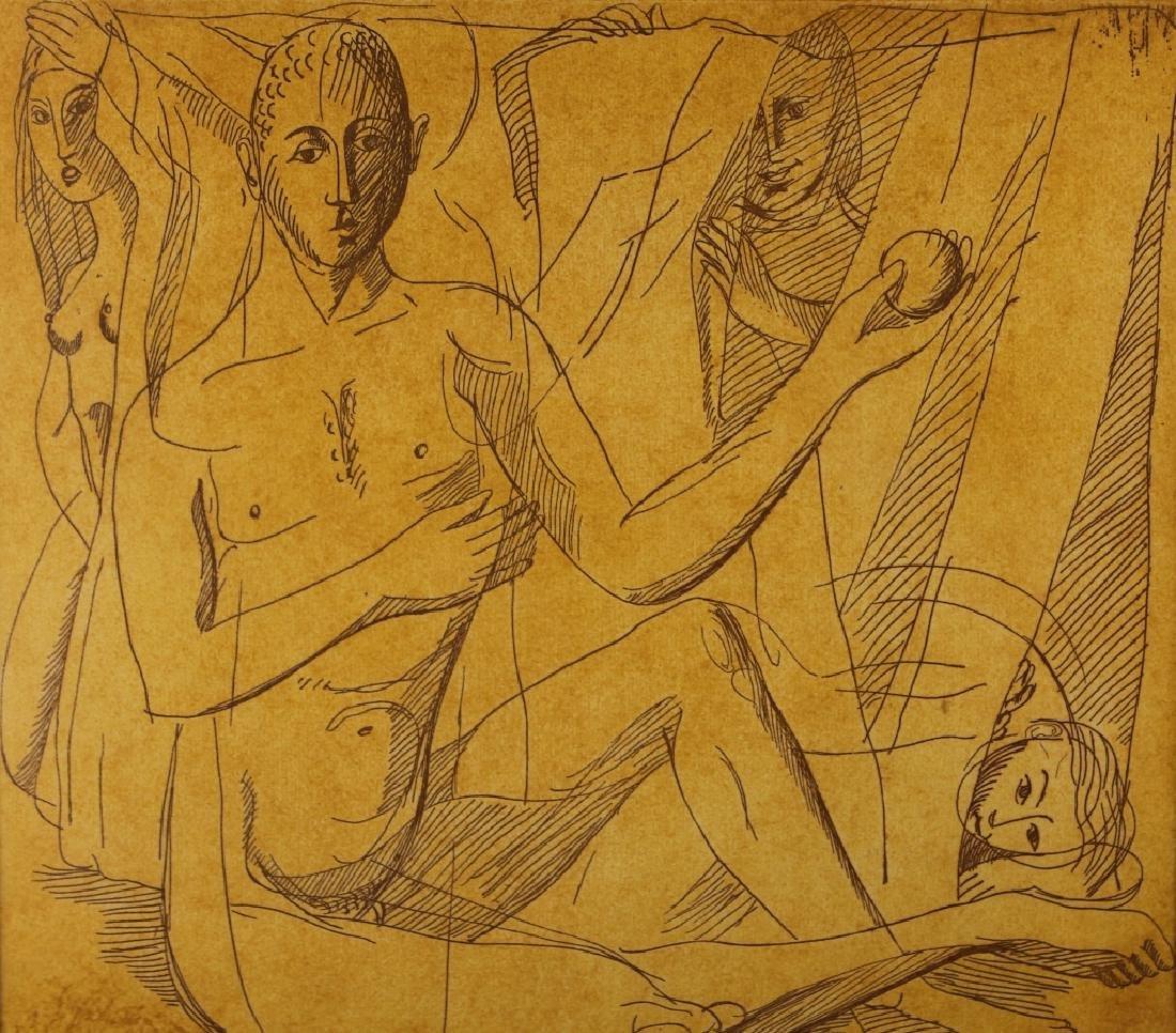 European Mythological Scene, Ink on Paper - 2