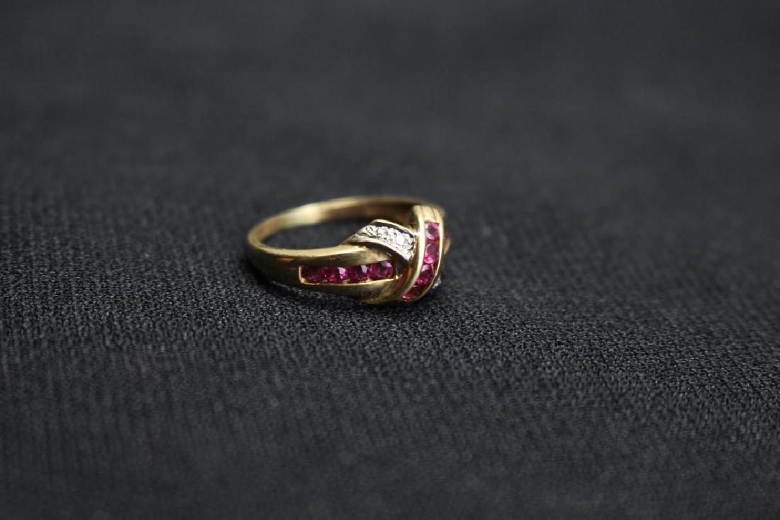 10k Gold Ruby & Diamond Ring - 2