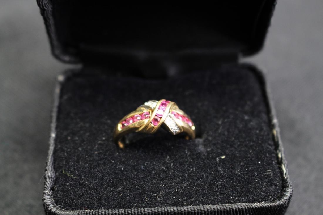 10k Gold Ruby & Diamond Ring - 4