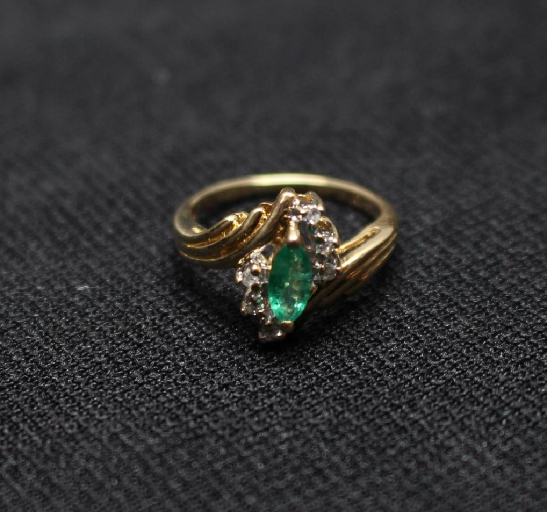 14k Gold Emerald & Precious Stone Ring