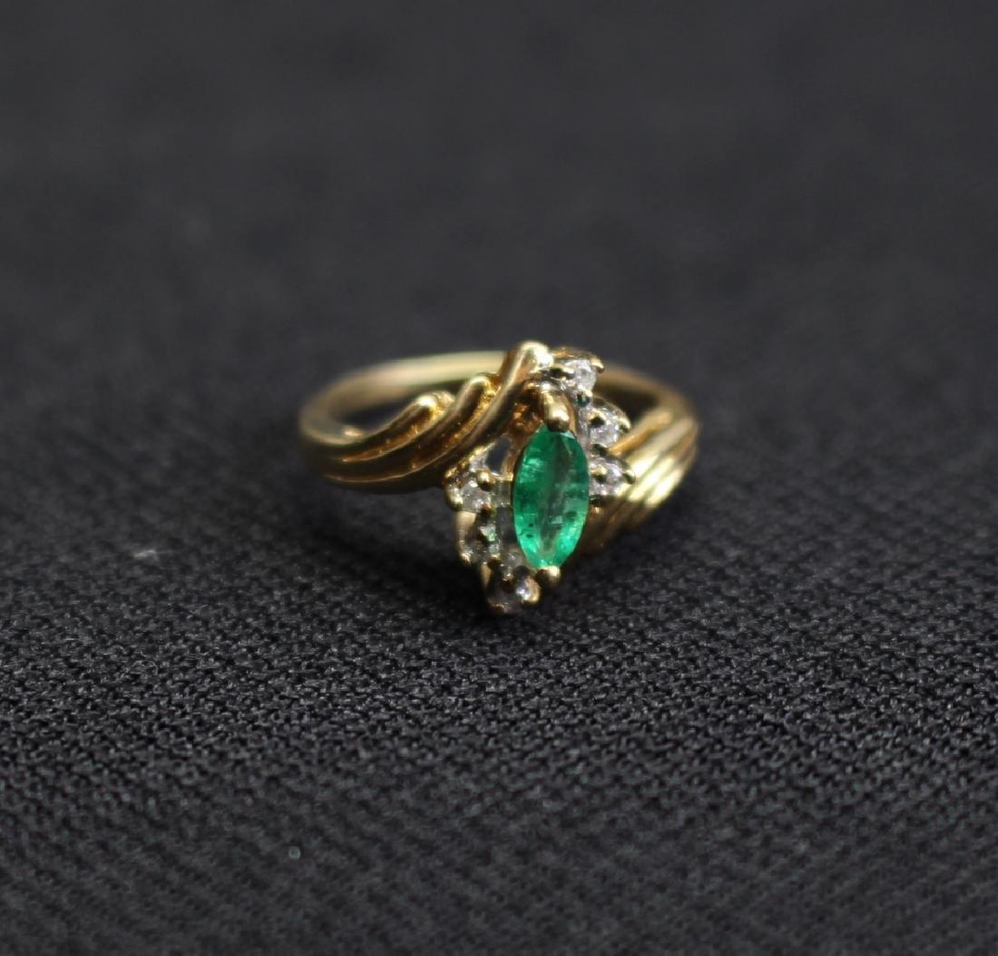 14k Gold Emerald & Precious Stone Ring - 2