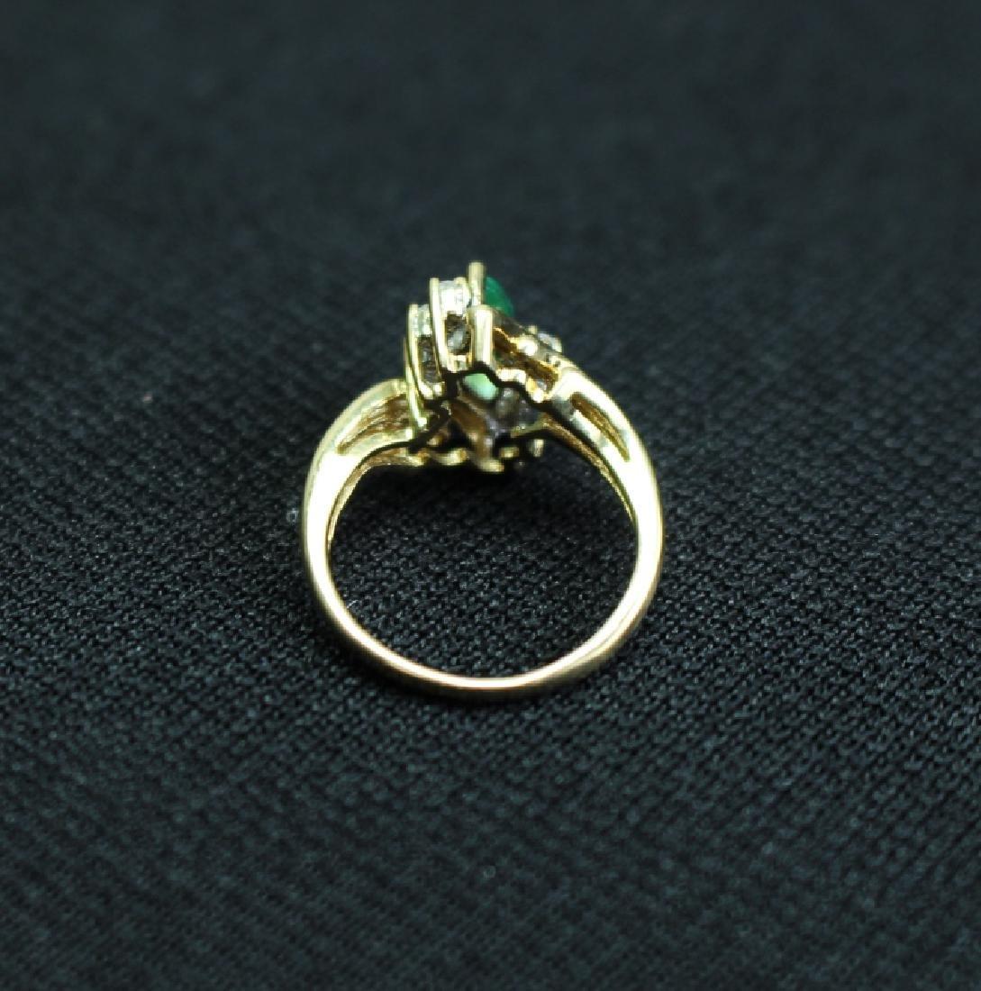 14k Gold Emerald & Precious Stone Ring - 3