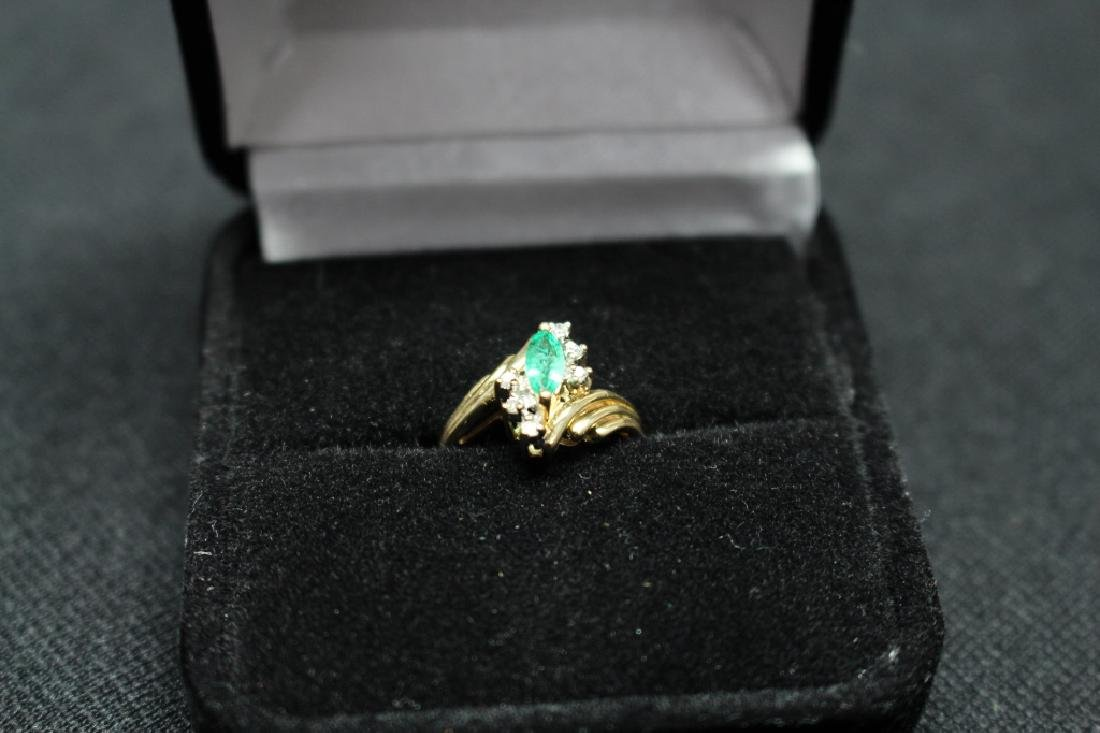 14k Gold Emerald & Precious Stone Ring - 4