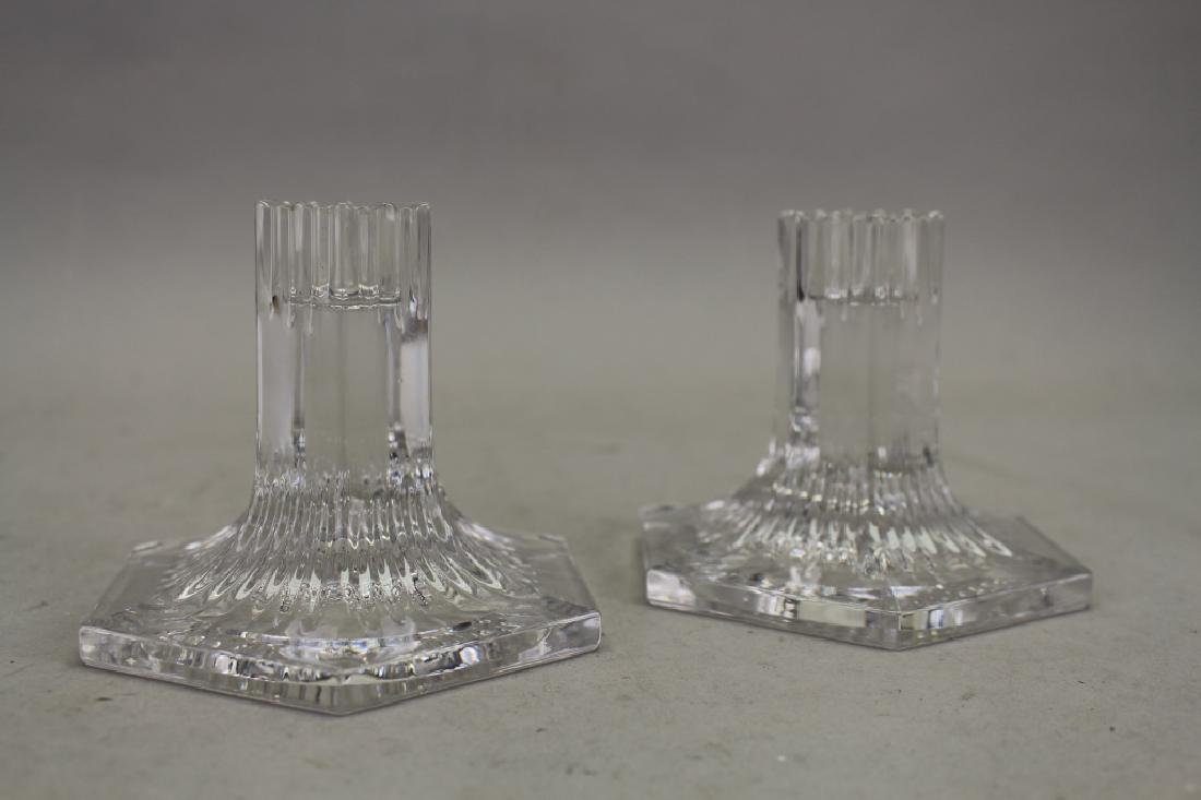 Signed Louis Comfort Tiffany Crystal Candle Sticks - 2