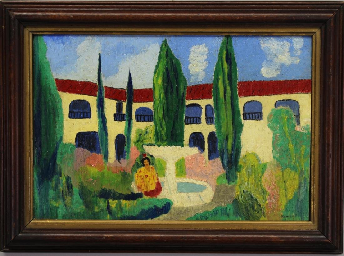 Signed 20th C. Spanish School Painting of a Villa