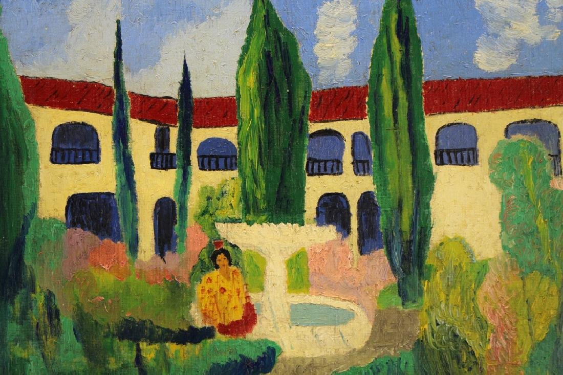 Signed 20th C. Spanish School Painting of a Villa - 2