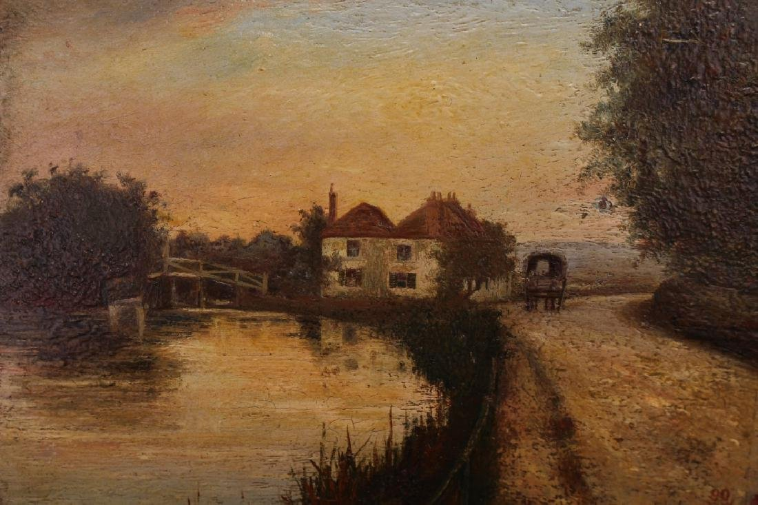 Signed 19th C. English School River Landscape