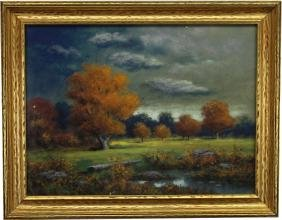 Antique American School Pastel, Autumnal Landscape