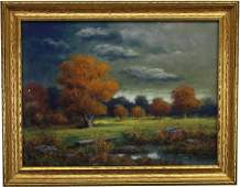 Antique American School Pastel, Autumnal Landscape