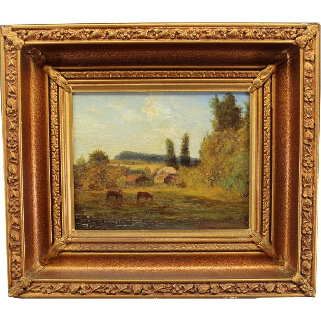 19th C. Pastoral Landscape w/ Livestock