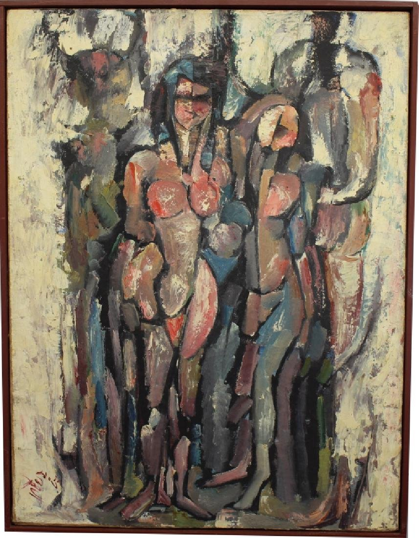 1967 Signed Figural Abstract Oil on Canvas