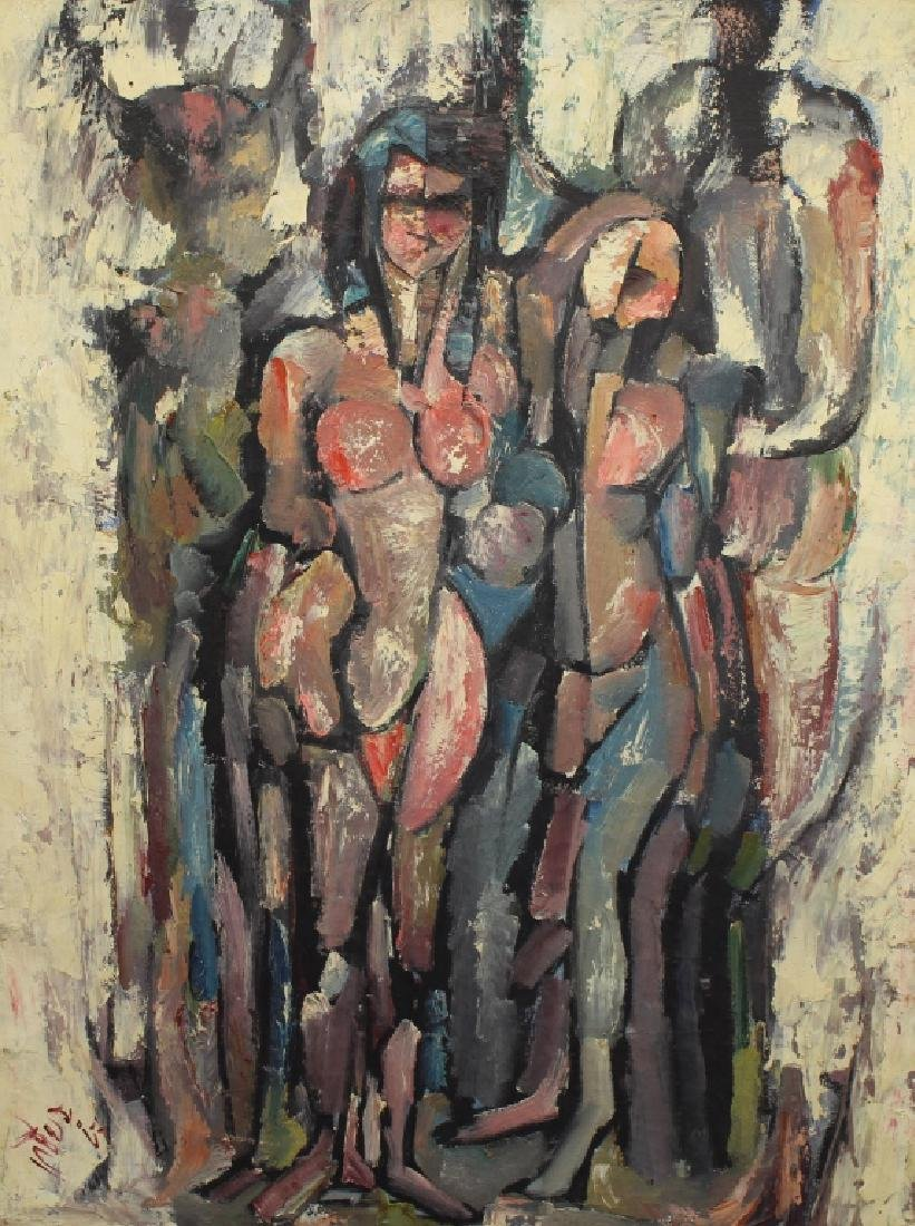 1967 Signed Figural Abstract Oil on Canvas - 2