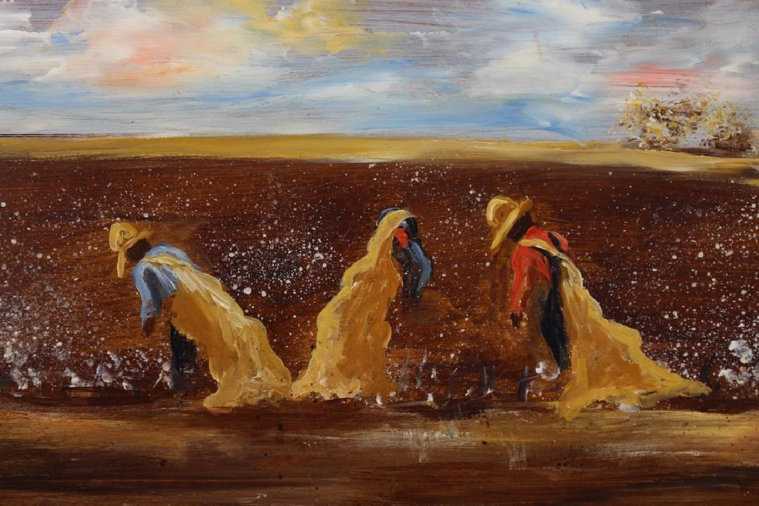 Signed 20th C. Painting of Cotton Farmers - 2