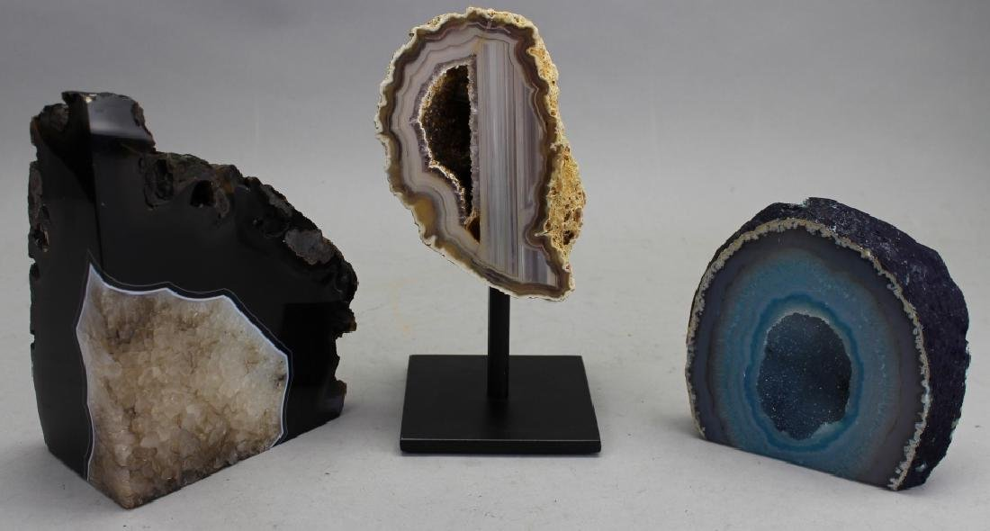 (3) Geodes, One on Stand