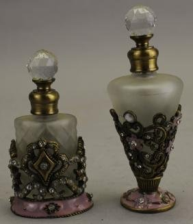 (2) Frosted Glass/Jeweled Perfume Bottles