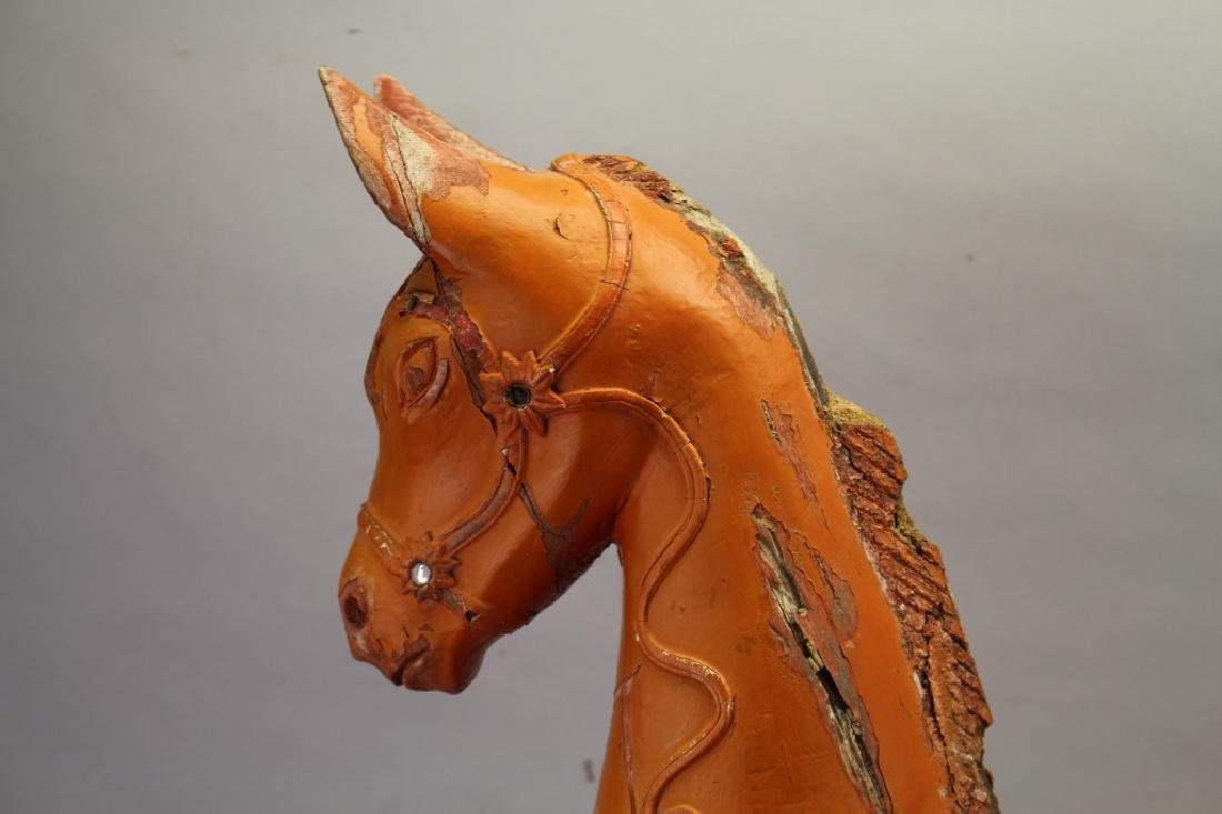 20th c. Carved Wooden Painted Horse - 2