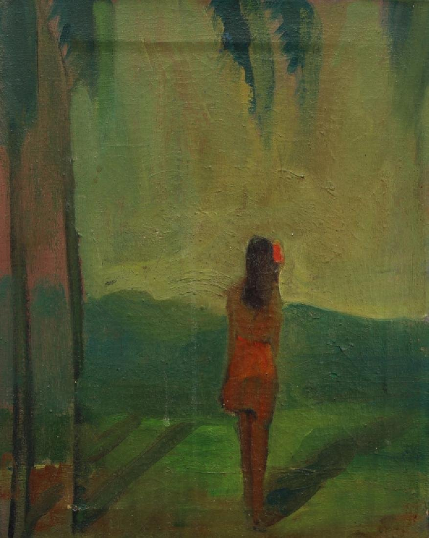 20th C. Oil/Canvas, Girl in Landscape