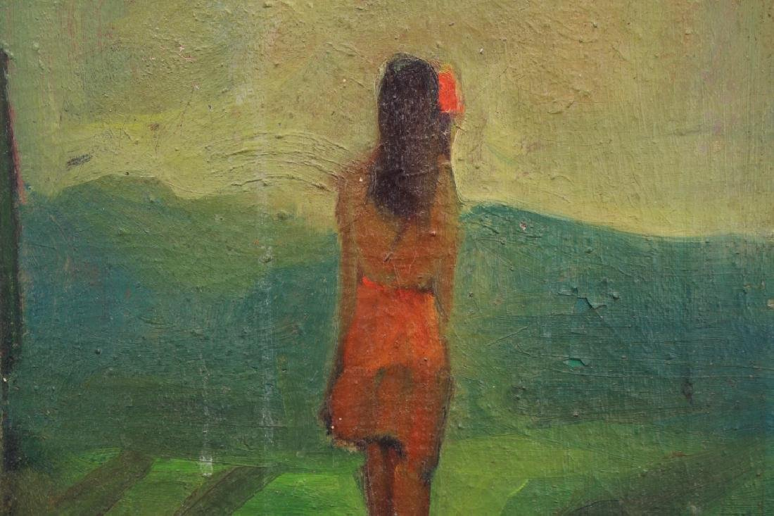 20th C. Oil/Canvas, Girl in Landscape - 2