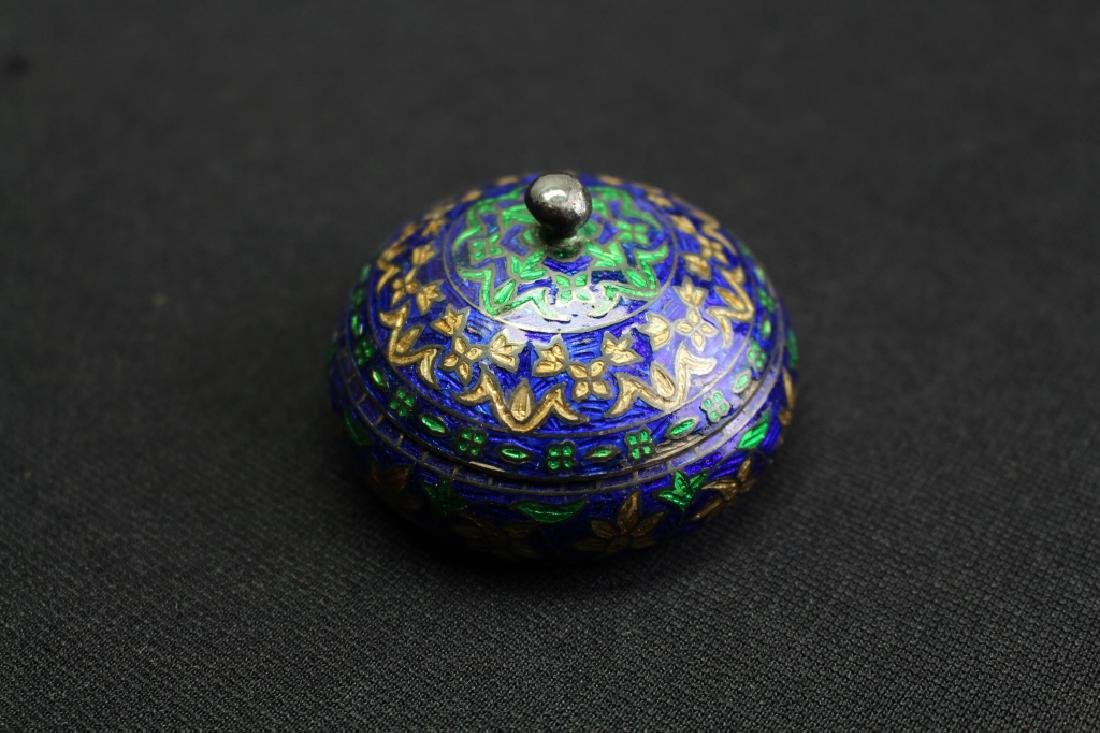 Sterling Silver & Enameled Small Box