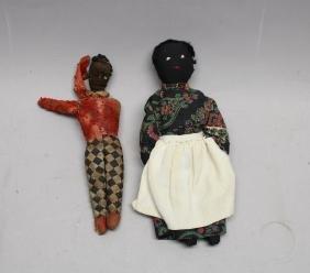 Antique Black Americana Primitive Folk Art Dolls
