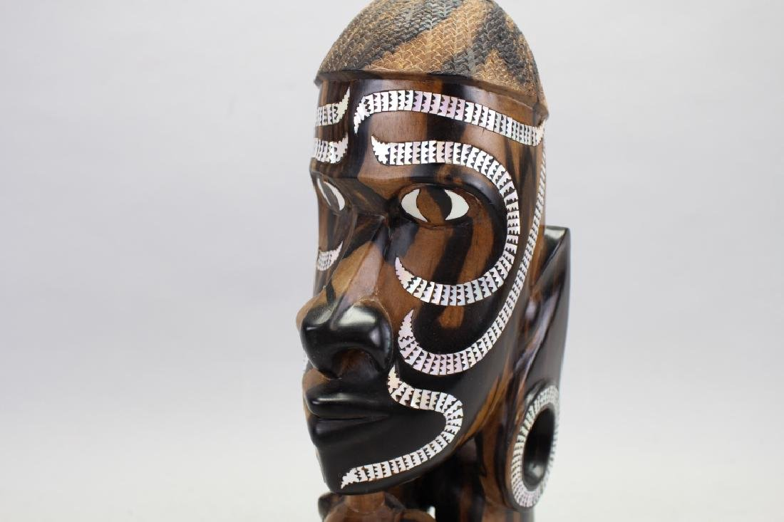 African Signed Carving of Queen w/ Inlay - 2