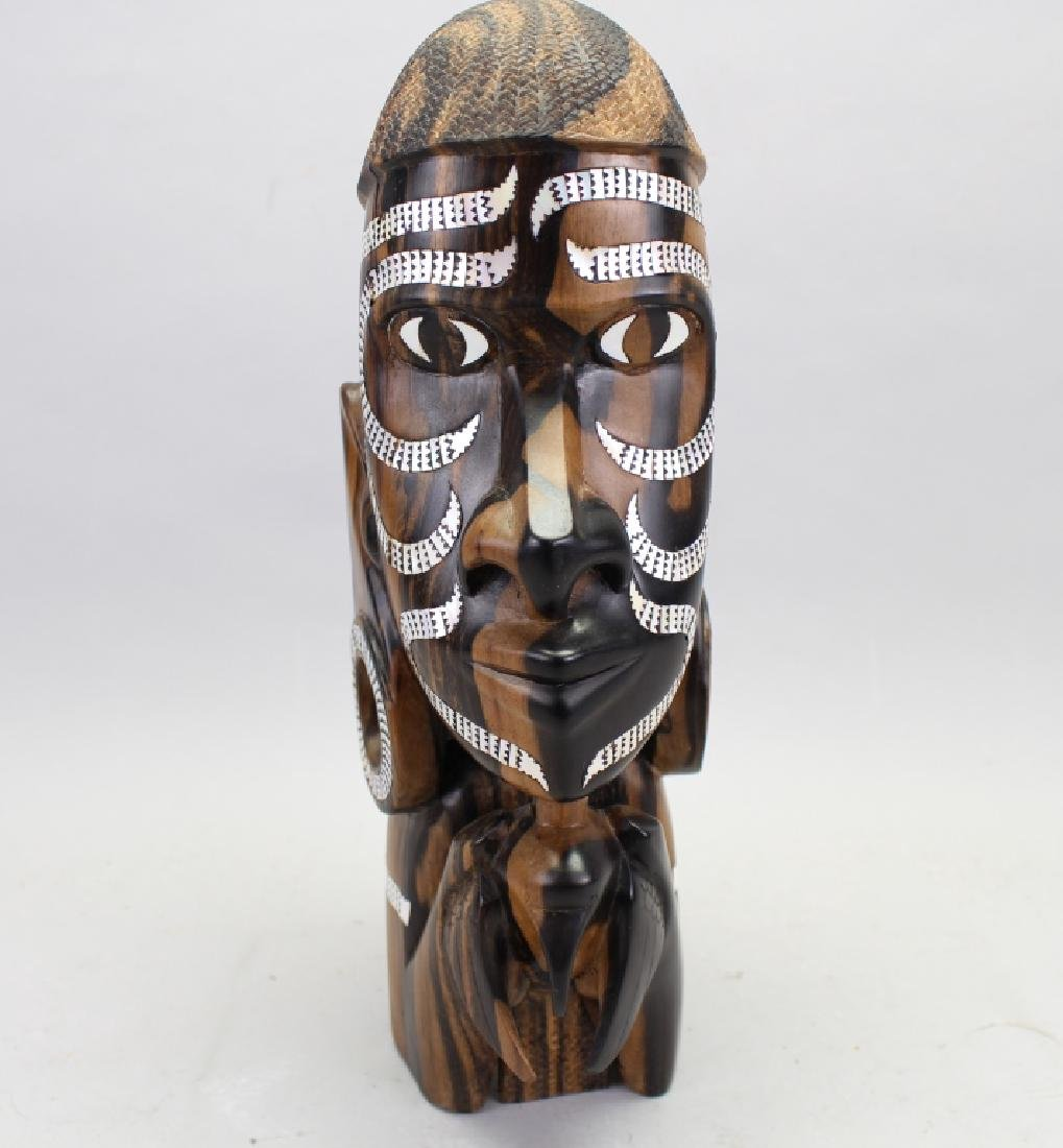 African Signed Carving of Queen w/ Inlay - 3